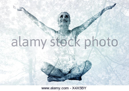 Image composite de tonique young woman with arms outstretched Banque D'Images