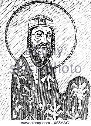 Alexios I Komnenos, 1048 - 15.8.1118, empereur romain de l'est 4.4.1081 - 15.8.1115, demi-longueur, après miniature byzantine, XIe siècle, Banque D'Images