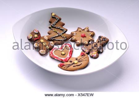 Biscuits de Noël sur un plateau Banque D'Images