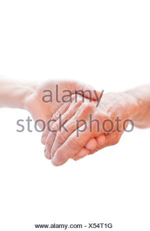 Personne tenant la main de l'autre, Close up. Banque D'Images
