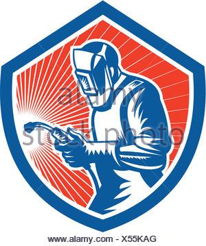 Illustration du travail travailleur soudeur à l'aide d'un chalumeau vu de côté situé à l'intérieur du flasque sur fond isolé fait en style rétro. Banque D'Images