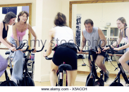 Cours de spinning Banque D'Images