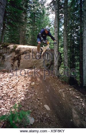 Un vélo de montagne de sauter un rocher à Whistler British Columbia Canada Banque D'Images