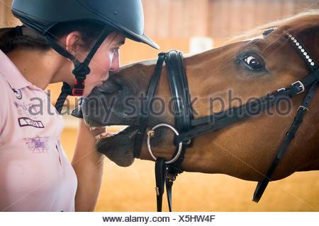 Warmblood. Rider Lisa Mueller le ponçage avec cheval alezan. Allemagne