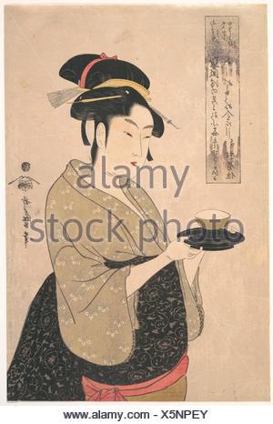 "Ae³""£é¢å±'ãŠããŸ/Okita du Naniwa-ya-thé maison. Artiste: Kitagawa Utamaro (1753?-1806, Japonais); période: période Edo (1615-1868); Date: 1790; Banque D'Images"