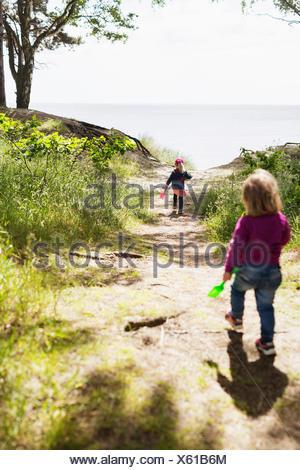 Vue arrière d'enfants courant sur terrain contre la mer Banque D'Images