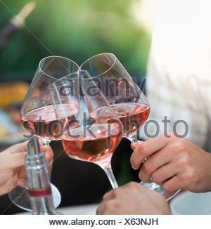 Happy friends s'amusant à l'extérieur, l'accent sur les mains toasting wine glass rose lors de barbecue. Banque D'Images