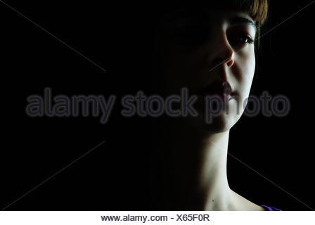 Un déprimé à la jeune femme Banque D'Images