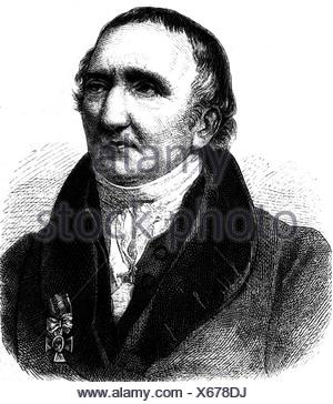 Johann Gottfried Schadow,, 20.5.1764 - 27.1.1850, sculpteur allemand, portrait, gravure, 19ème siècle, , Additional-Rights-Jeux-NA Banque D'Images