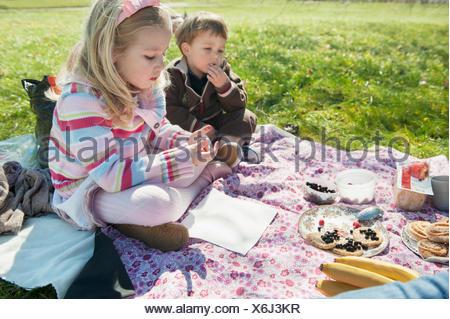 Frère et sœur having picnic Banque D'Images