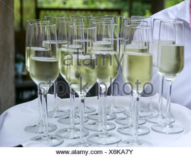 Man holding tray with glasses of champagne Banque D'Images