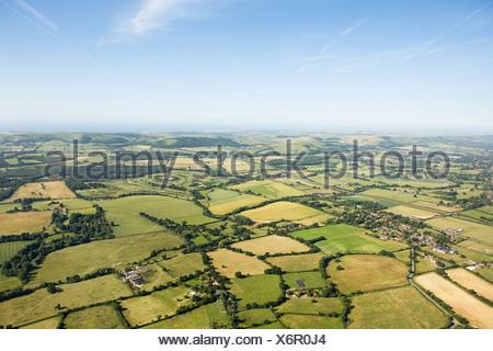 Vue aérienne de champs Sussex Banque D'Images