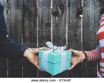 Portrait Of Hands Holding Gift Box contre clôture en bois Banque D'Images