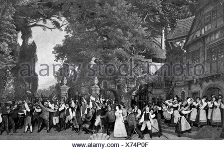 Albert Lortzing,, 23.10.1801 - 21.01.1851, compositeur allemand, travaille, scène finale du premier acte, l'enlèvement de Regina par les maraudeurs, l'Opéra de Berlin, femme, femme, femme, , Additional-Rights-Jeux-NA Banque D'Images