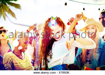 Plage de collage danse amitié Joyeuse Concept Banque D'Images