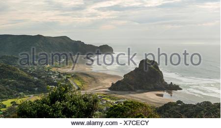 Piha beach, près de l'île du nord, Auckland, Nouvelle-Zélande Banque D'Images