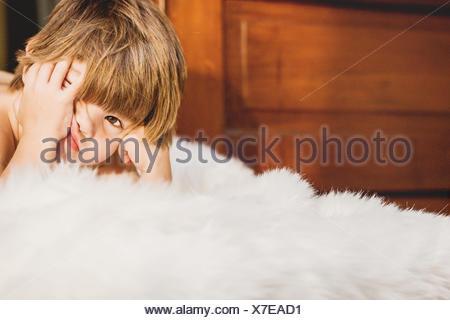 Portrait d'un garçon ennuyeux Banque D'Images
