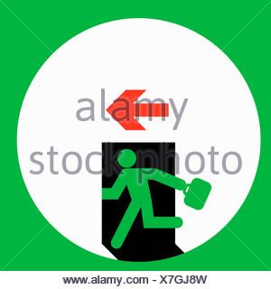 Businessman qui traverse la porte de sortie Banque D'Images