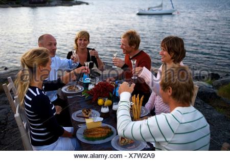Party des écrevisses, Fejan, archipel de Stockholm, Suède.