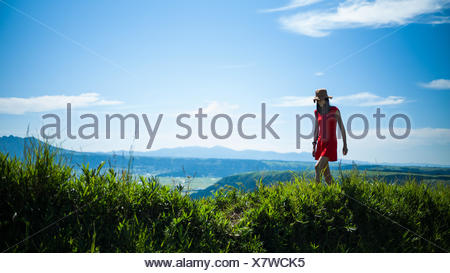 Randonnées en montagne Femme Banque D'Images