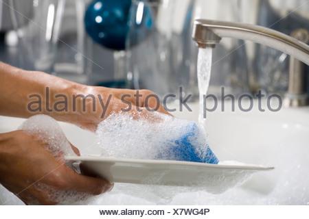 Lave-mains une plaque Banque D'Images