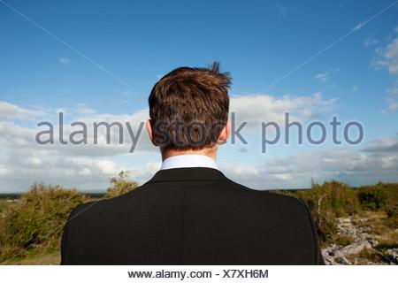 Businessman looking at view, vue arrière Banque D'Images