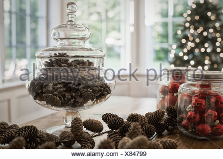 Woodstock, New York USA bocal en verre décoratif verre cônes de pin baubles Banque D'Images
