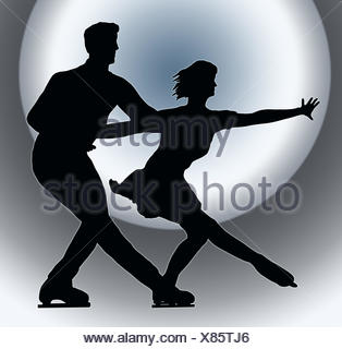Le sport, les sports, la couleur, le néon, silhouette, contours, patinage, couleur, fond, Banque D'Images