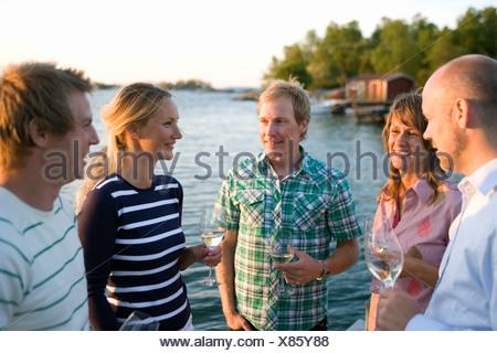 Cinq amis parler et boire, Fejan, archipel de Stockholm, Suède.