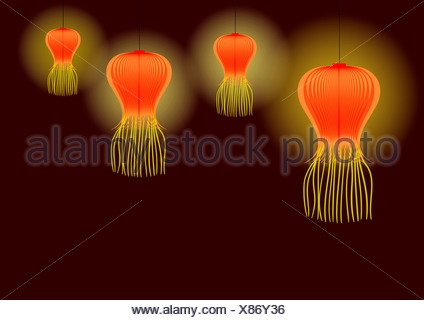 Diwali décoration avec des lanternes en papier isolé sur fond brun