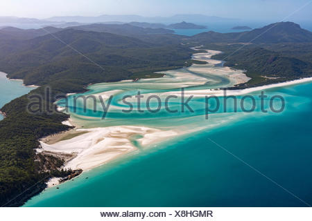 Whitehaven Beach et Hill Inlet rivière serpente, Whitsunday Islands, Queensland, Australie Banque D'Images