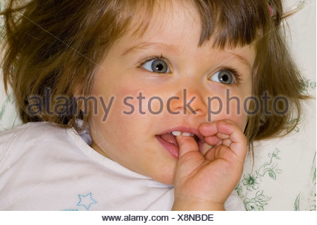 Close up of young girl's face Banque D'Images