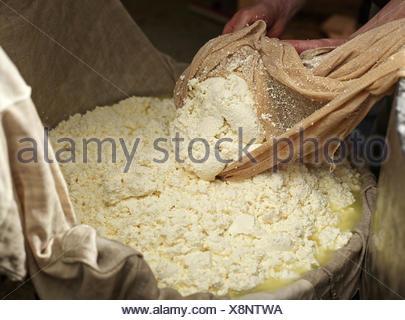 Dairyman faire fromage gris, levage et en appuyant sur la pâte avec un chiffon, fromage, Steinbergalm Inneralpbach, Alpbach, Tyrol Banque D'Images