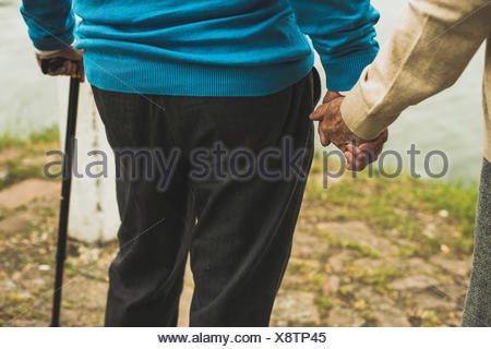 Senior couple holding hands at water's edge, close-up Banque D'Images