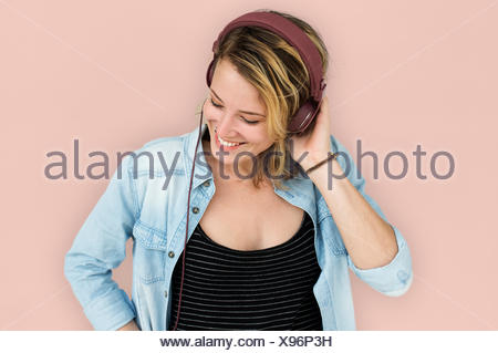 Young Lady Embarassed Concept Studio Banque D'Images