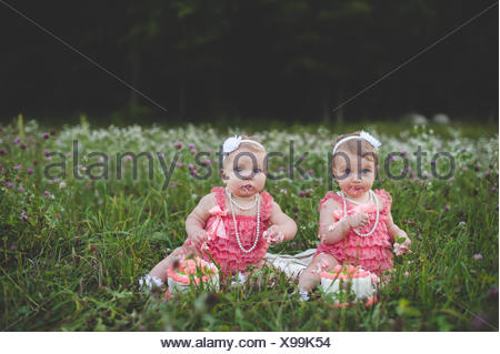 Portrait of baby twin sisters sitting in wildflower meadow eating cake Banque D'Images