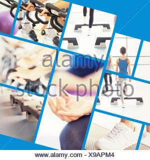 Image composite de gros plan du cropped sporty women in lotus pose Banque D'Images
