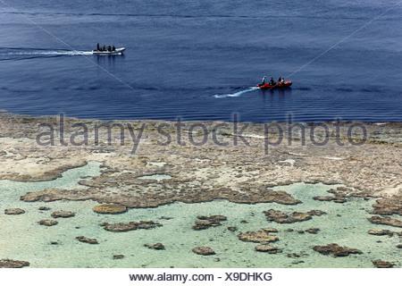 Dinghys caoutchouc ramasser des plongeurs de la partie supérieure du récif, Daedalus Reef, Egypte, Mer Rouge, Afrique Banque D'Images
