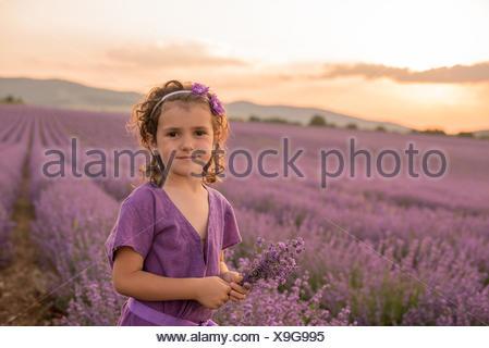 Fleur de Lavande Girl standing in field at sunset, Kazanlak, Bulgarie Banque D'Images