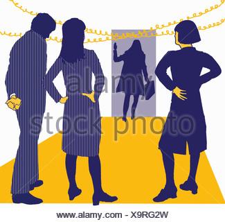Regarder les gens d'affaires collègue quitter office Banque D'Images