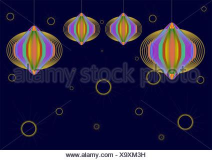 Diwali décoration avec des lanternes en papier isolé sur fond bleu