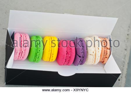 Macarons cookies à la case Banque D'Images