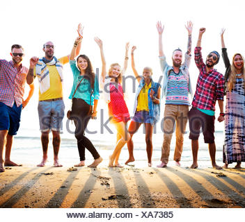 Les adolescents amis Beach Party Concept Bonheur Banque D'Images