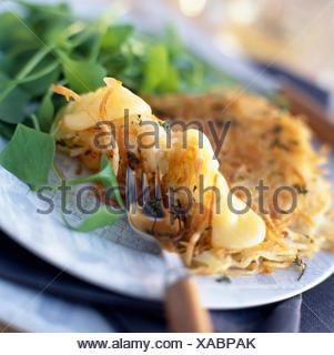 St-nectaire et de pommes de terre crêpes salées
