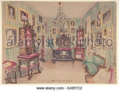 Dessin D Un Interieur Cabinet Du Salon 1857 Graphite Plume Et