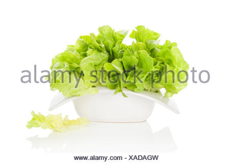 Salade verte fraîche dans un bol blanc isolé sur fond blanc. L'été frais sain de manger. Arts Culinaires. Banque D'Images