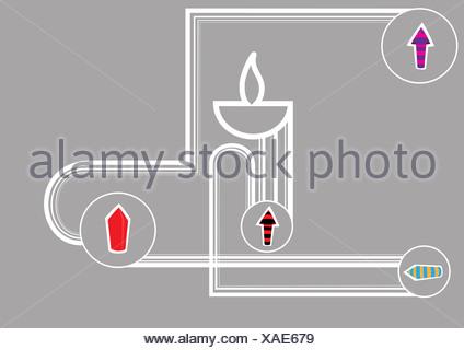 Diwali lampe à huile de pétards isolé sur fond gris
