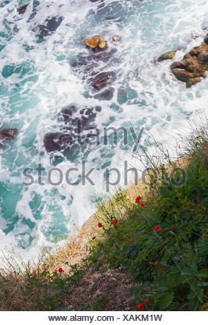 Les vagues se briser contre les rochers le long de la côte de Sozopol, Bulgarie Banque D'Images
