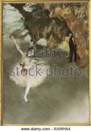 """'Fine Arts, Degas, Edgar (1834 - 1917), 'La star', 1877/1878, pastel, Musée d'Orsay, Paris, """"La danseuse du théâtre"""", en français Banque D'Images"""