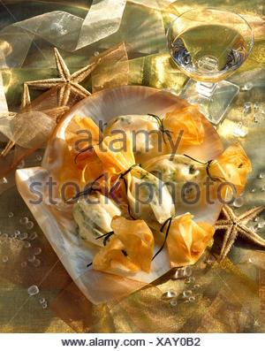 Les pétoncles enveloppés de pâte filo
